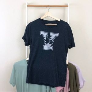 Zara Man Blue Speckled Yale Bulldogs College Tee